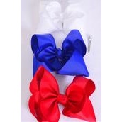 """Hair Bow Jumbo Patriotic Red White  Royal Blue Mix Grosgrain Bow-tie/DZ **Alligator Clip** Size-6""""x 5"""" Wide,4 Red,4 White,4 Royal Blue Color Asst,Clip Strip & UPC Code"""