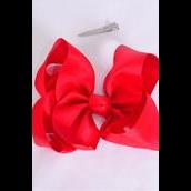 """Hair Bow Jumbo Red Alligator Clip 6""""x 5"""" Grosgrain Bow-tie/DZ **Red** Size-6""""x 5"""" Wide,Alligator Clip,Clip Strip & UPC Code"""