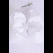"Hair Bow Jumbo White Grosgrain Bowtie/DZ **White** Alligator Clip,Size-6""x 5"" Wide,Clip Strip & UPC Code"