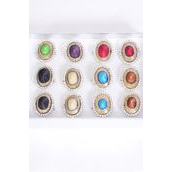 """Rings Acrylic Oval Marble W Clear Rhinestones/DZ **Adjustable** Face Size-1.25""""x 1"""" Wide, 2 Black,2 Red,2 Turquoise,2 Purple,2 White,1 Green,1 Brown,7 Color Asst."""