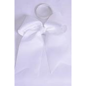 """Hair Bow Extra Jumbo Long Tail Cheer Type Bow White Elastic Grosgrain Bow-tie/DZ **White** Elastic,Size-6.5""""x 6"""" Wide,Clip Strip & UPC Code"""