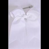 "Hair Bow Extra Jumbo Long Tail Cheer Type Bow  White Grosgrain Bow-tie/DZ **White** Alligator Clip,Size-6.5""x 6"",Clip Strip & UPC Code"