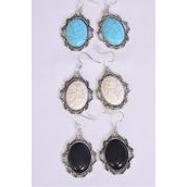"""Earrings Metal Antique Round Dangle Semiprecious Stone/DZ match 76010 **Fish Hook** Size-1.5""""x 1"""" Wide,4 Black,4 Ivory,4 Turquoise Asst,Earring Card & OPP Bag & UPC Code -"""