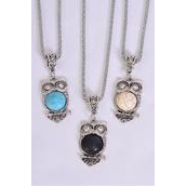 """Necklace Silver Chain Owl Semiprecious Stone/DZ match 02660 Pendant-1.5""""x 1"""" Wide,Chain-18"""" Extension Chain,4 Ivory,4 Black,4 Turquoise Asst,Hang Tag & OPP Bag & UPC Code"""