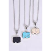 """Necklace Silver Chain Elephant Real Semiprecious Stone/DZ Pendant-1.25"""" x 1."""" Wide,Chain-18"""" Extension Chain,4 Ivory,4 Black,4 Turquoise Asst,Hang Tag & OPP Bag & UPC Code"""