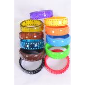 """Bangle Acrylic With Stones All Around/DZ Size-2.75""""x 1""""Dia Wide,Choose Colors,Hang Tag & OPP Bag & UPC Code"""