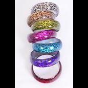 "Bracelet Bangle Acrylic Cat-eye Leopard Print/DZ **Multi** Size-2.75""x 1"" Dia Wide,2 Gold,2 Silver,2 Fuchsia,2 Purple,2 Red,1 Blue,1 Lime,7 Color mix,Hang tag & Opp bag & UPC Code-"