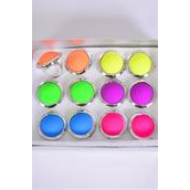 """Rings Acrylic Round Caribbean Neon Color Asst/DZ **Adjustable** Face Size-1.25"""" Wide,2 of each Color Asst."""