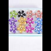 "Rings Poly Flower Metallic Silver Trim Multi/DZ **Adjustable** Flower Size-1.25"" Wide,2 Fuchsia,2 Blue,2 Gold,2 Silver,2 Purple,1 Lime,1 Orange, 7 Color Asst"