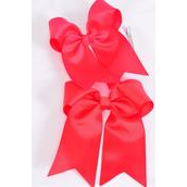 """Hair Bow Extra Jumbo Long Tail Cheer Type Bow Red,Poppy Red Mix Grosgrain Bow-tie/DZ **Red** Alligator Clip,Size-6.5"""" x 6"""" Wide,6 Red,6 Poppy Red Mix,Clip Strip & UPC Code"""